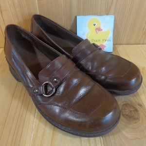 "Clarks Loafers Size 8 M Brown Leather Wedge 1""Heel"
